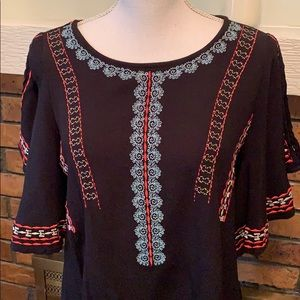 Gibson Latimer Tops - Gibson Latimer Boho Flutter Sleeve Shirt Black Red